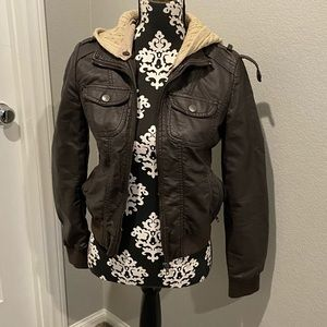 Miss Posh Brown faux leather jacket